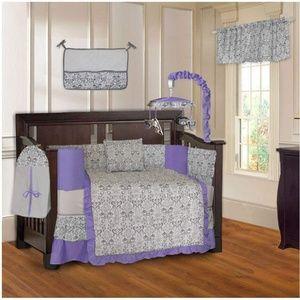 Grey and Purple Damask print Crib Bedding.